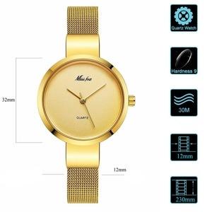 Image 4 - Miss Fox Women Gold Fashion Minimalist Watch Stainless Steel Mesh Ultra Thin Waterproof Causal Small Analog Quartz Female Watch