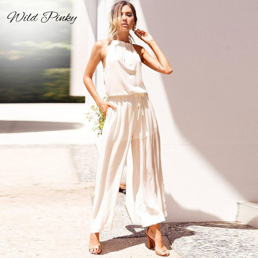 WildPinky Rompers Womens Jumpsuit Long Elegant Tie Up Sleeveless High Waist Fashion Summer Loose Jumpsuits Female