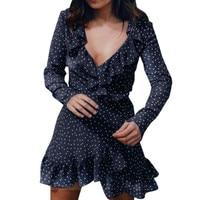 Women Summer V Neck Dress Autumn Long Sleeve Small Stars Printed Dress Fashion Ladies Ruffled Chiffon