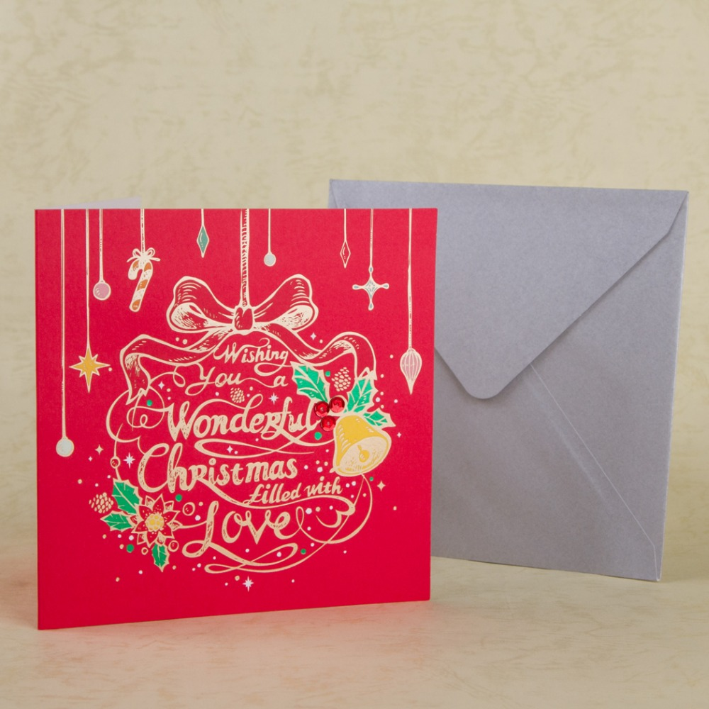 Christmas Greeting Cards Personalized Red Christmas Tree Decorative