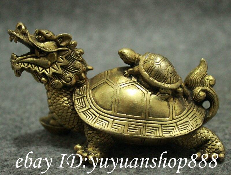 Populaire chinois laiton FengShui longévité Shou Dragon tortue tortue tortue Statue animaux jardin décoration 100% réel laiton