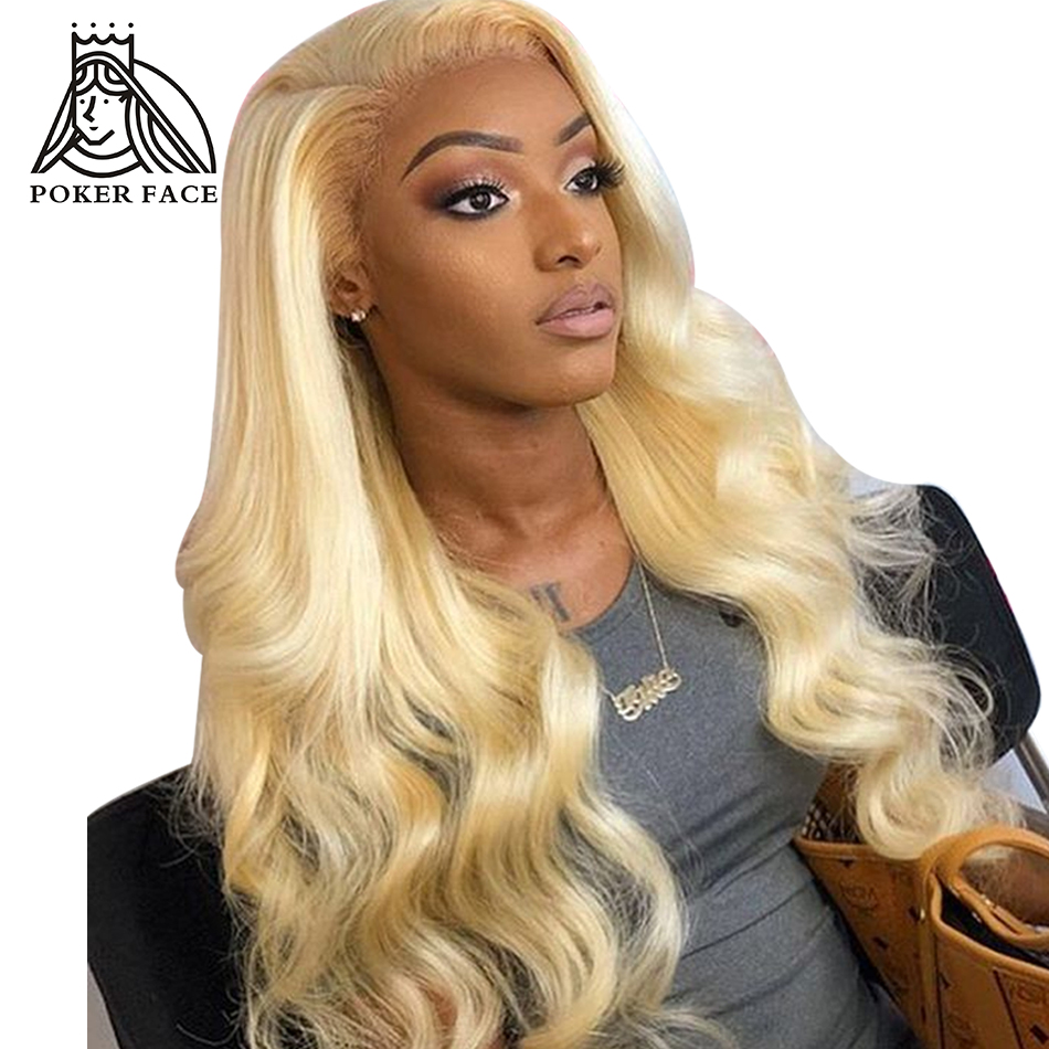 Poker Face 613 Body Wave Lace Front Human Hair Wigs  Chinese Hair Blonde Lace Frontal Wigs Long Wave Wigs For Black Women Remy