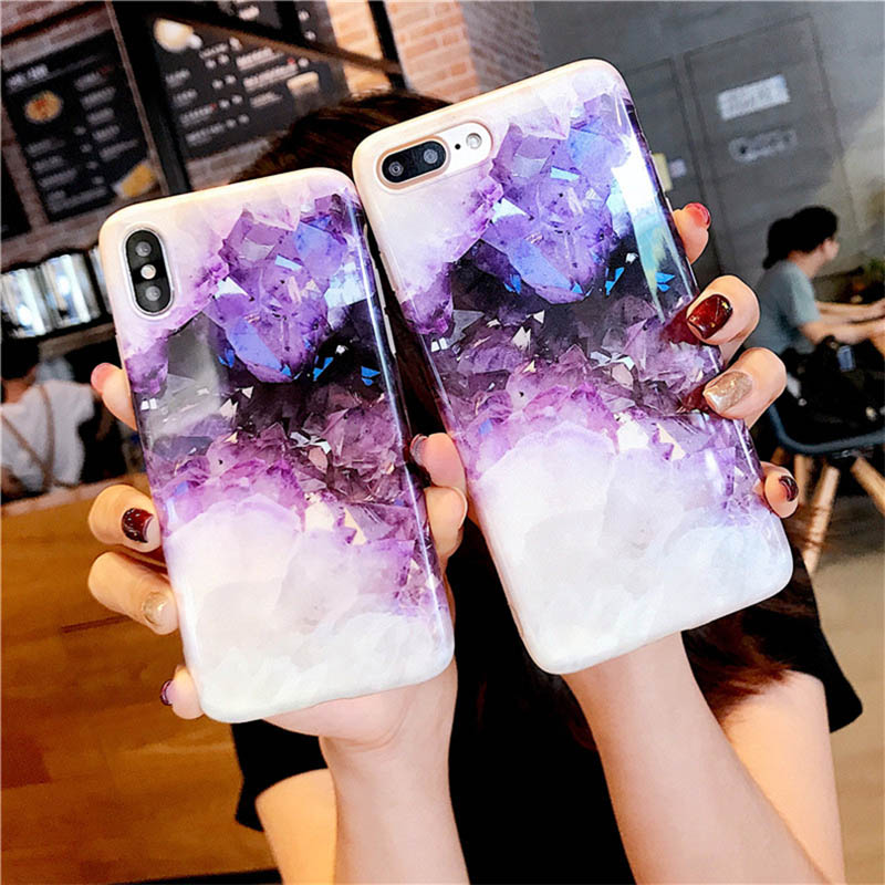 Luxury Simple Marble Crystal Phone Case For iPhone 7 Case For iPhone X 7 6 6S 8 Plus Case Cover 8Plus 7Plus Coque Fundas Capa(China)