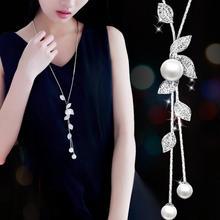 ZA New Fashion Silver Big Necklaces Chain Round Sweat Long Leaf Pearl For Women Winter Body Jewelry MX1620
