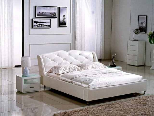 . diamond button tufted contemporary genuine leather bed modern bedroom  furniture made in China in Beds from Furniture