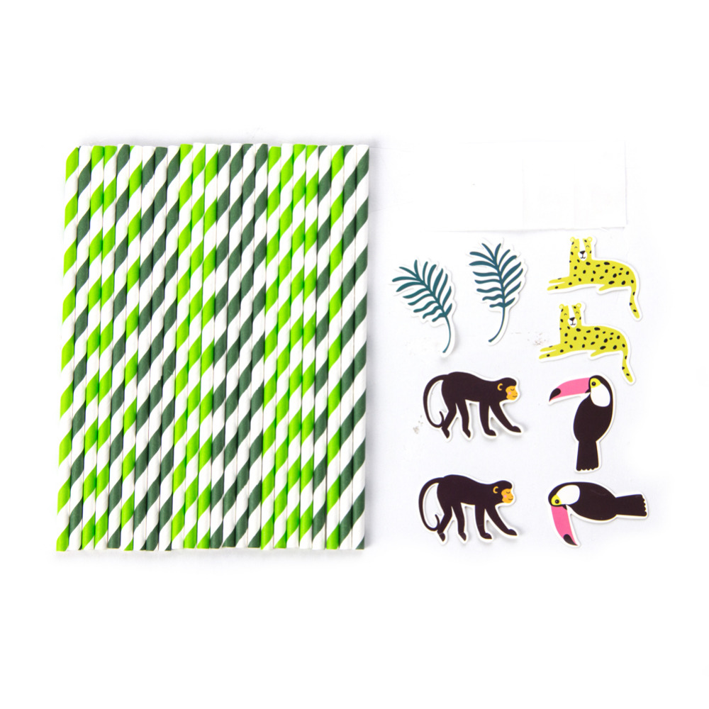 Image 3 - Pack of 24 Jungle Animal Party Paper Straws with Toucan Monkey Tropical Leaves Cutouts Tropical Birthday Party Shower Supplies-in Party DIY Decorations from Home & Garden