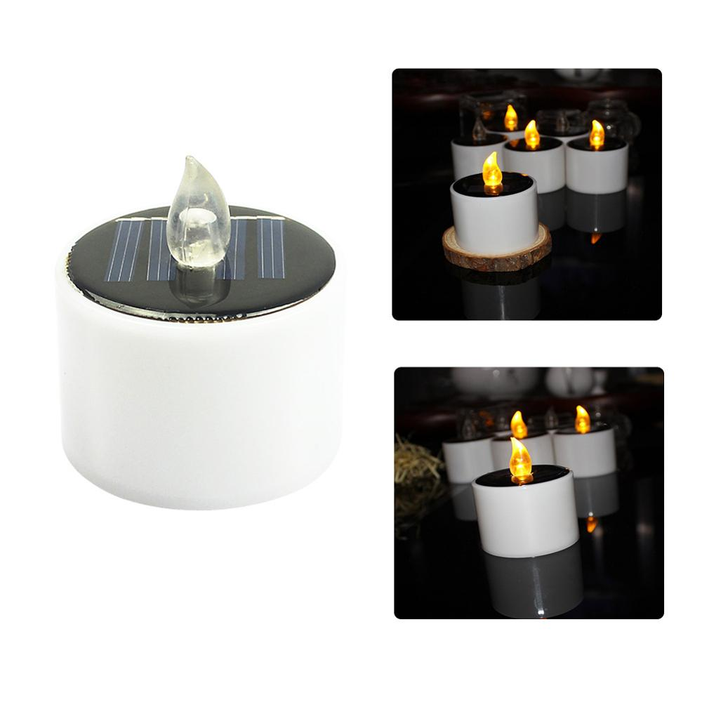 Solar Light Candle Light Round Energy saving Electronic Light Household Solar Energy Decorative Lights in Solar Lamps from Lights Lighting