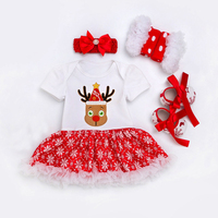 Baby Rompers Christmas Costumes Princess Newborn Baby Girl First Birthday Dress Deer Romper Dress Headband for Infant Party Wear