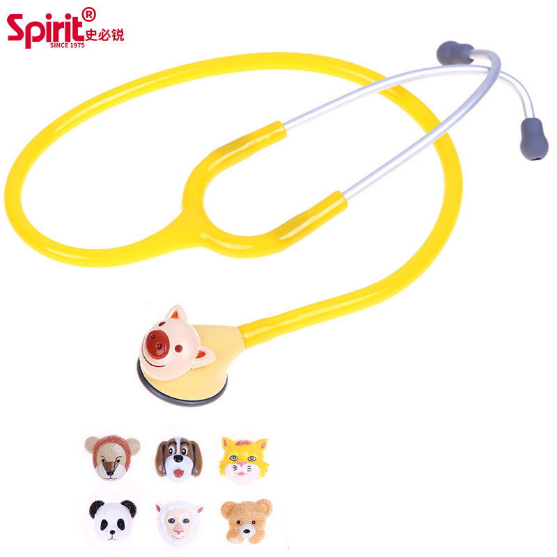 Spirit 5 color 3D Animated Animal cute pediatric Stethoscope changeable single head kids child children made