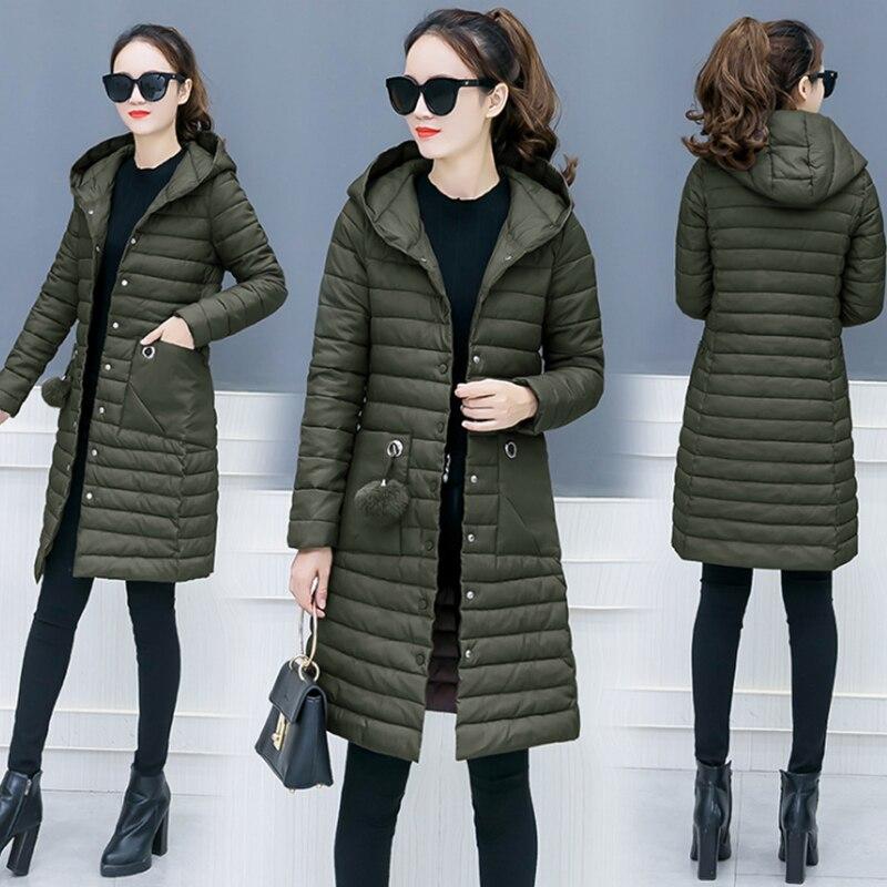 2019 Parka Women Winter Cotton Coats Green Black Long Slim Ladies Outwear New Wadded Hooded Female