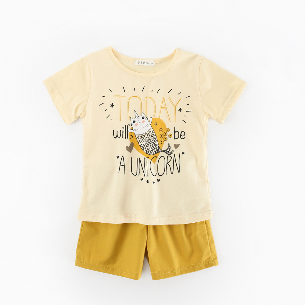 Boys Girls Clothes Sets For Kids Cute Fish Print T Shirt +Shorts Baby Boys Sport Clothing 2pcs For Children Suit