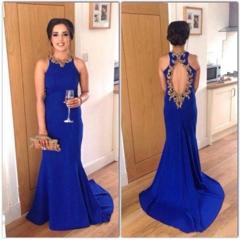 1431103018 Royal Blue Long Mermaid Prom Dresses 2019 Gold Beaded Jewel Neck Sleeveless Open  Back Court Train Eveing Gowns Celebrity Dress