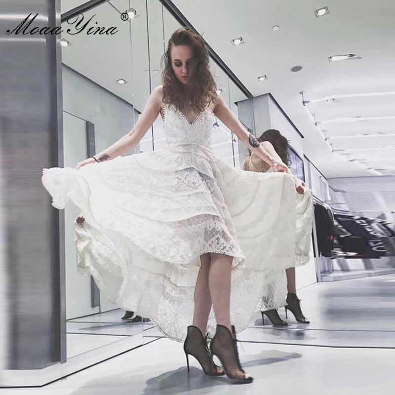 MoaaYina, модное дизайнерское подиумное платье, летнее женское платье на бретельках, сексуальное платье с v-образным вырезом, праздничные Вечеринки, асимметричное платье ласточкин хвост
