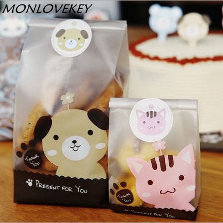 10pcs/pack Plastic Biscuit Cookie Bag Baking Packs Sac Plastique Cute Dog Cat Pattern Packaging For Cookies Bolsas De Regalo
