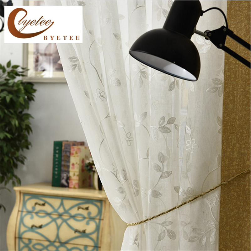 {byetee} Modern Embroidered Luxury Door Gauze Tulle Kitchen Sheer Voile Organza Curtains For Living Room Curtains Bedroom Drapes