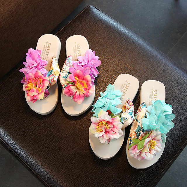 7a0a2d603395fa Girls Flip Flops Holiday Shoes Parent Child Shoes Big Flower Beach Shoes  Teenage Girl Slippers Bohemia Summer Slippers 25-42