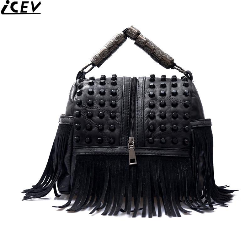 New black female boston bag sheepskin genuine leather handbag tassel rivet shoulder cross body bags handbags women famous brands