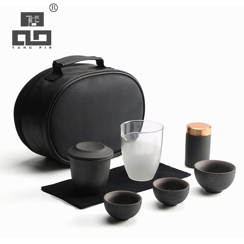 TANGPIN Chinese Ceramic Teapots Tea Pot Set Teacups Portable Travel Tea Set Drinkware