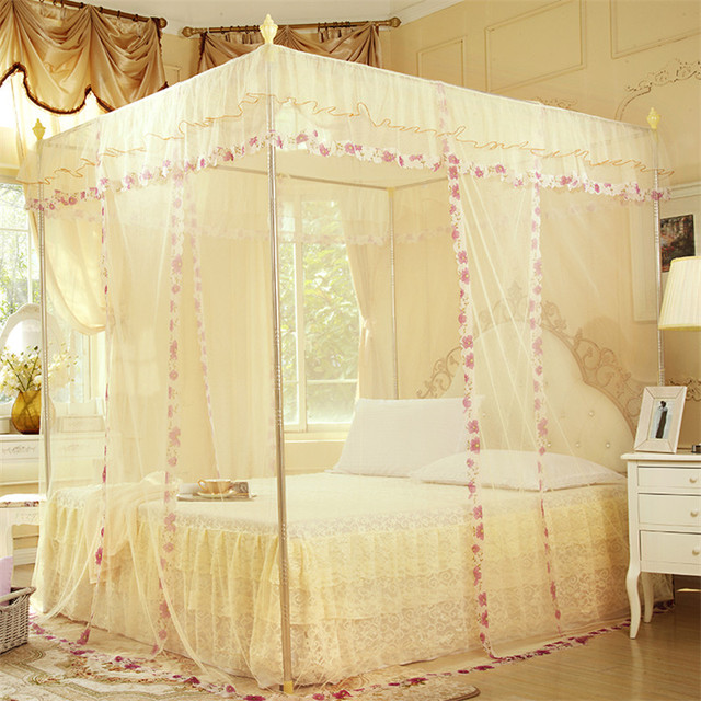 {Byetee} Yellow Lace Palace Mosquito Net with Stainless Steel Frame New Adult Moustiquaire Three Door Open Home Bed Canopy Tent