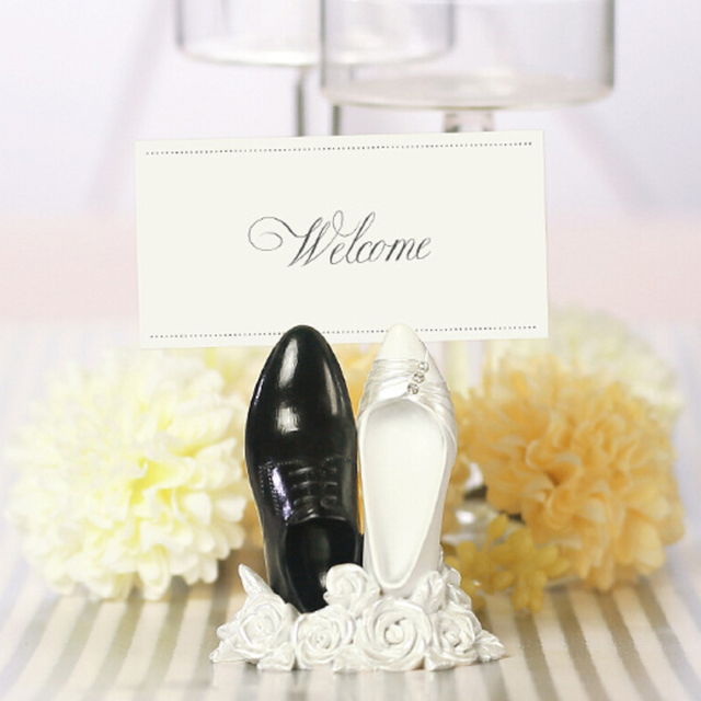 Bride Groom Shoes Rose Flower Table Place Card Clip Holder Wedding