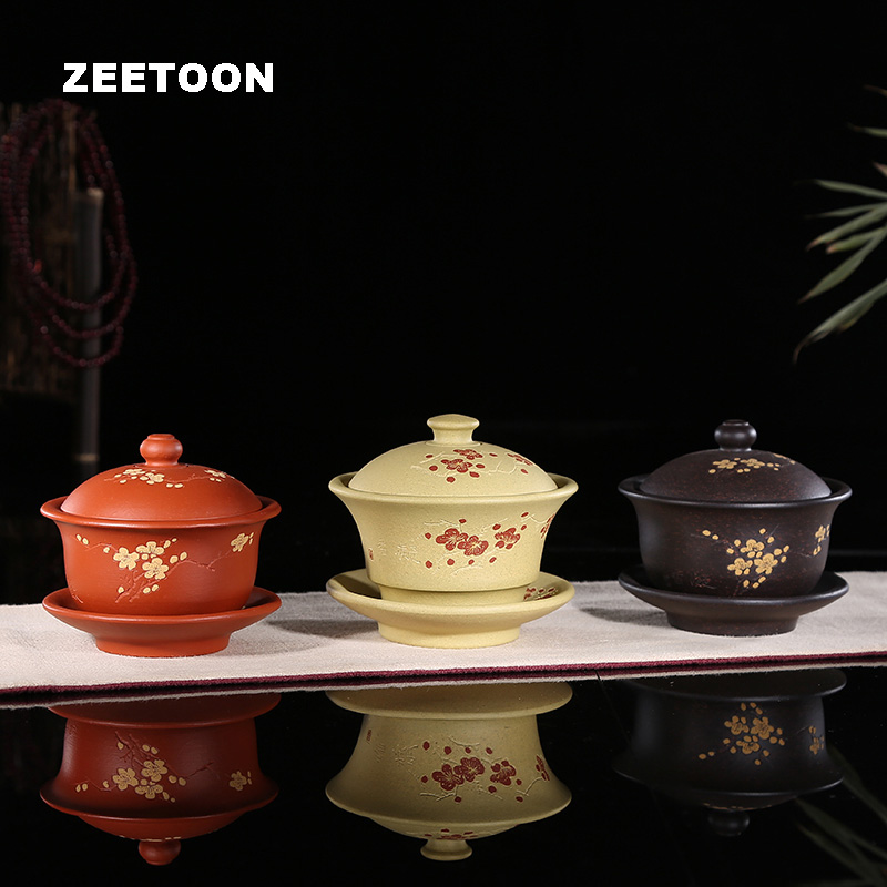 260cc Authentic Yixing Teapot Plum Gaiwan Handmade Chinnese Health Purple Clay Kung Fu Tea Set Zisha Teacup Tea Bowl Master Cup|cup cups|cup tea set|cup d - title=