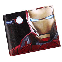Comics Super heros Iron Man Wallet Credit Card Holder Wallet Bifold ID Cash Purse(China)
