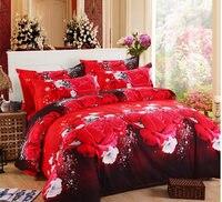 패션 고급 인쇄 3D 꽃 침구 세트 퀸 킹 전체 크기 침대 시트 이불 커버 베개