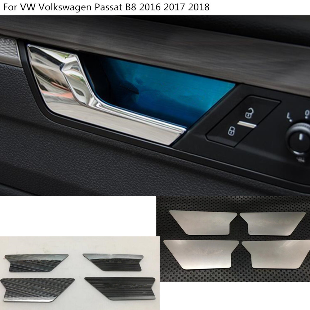 Car styling body cover stick trim door inner handle bowl frame lamp panel 4pcs for Volkswagen VW Passat B8 2016 2017 2018 free shipping car body styling cover stick trim door inner handle bowl frame lamp 4pcs set for mazda cx 5 cx5 2nd gen 2017 2018