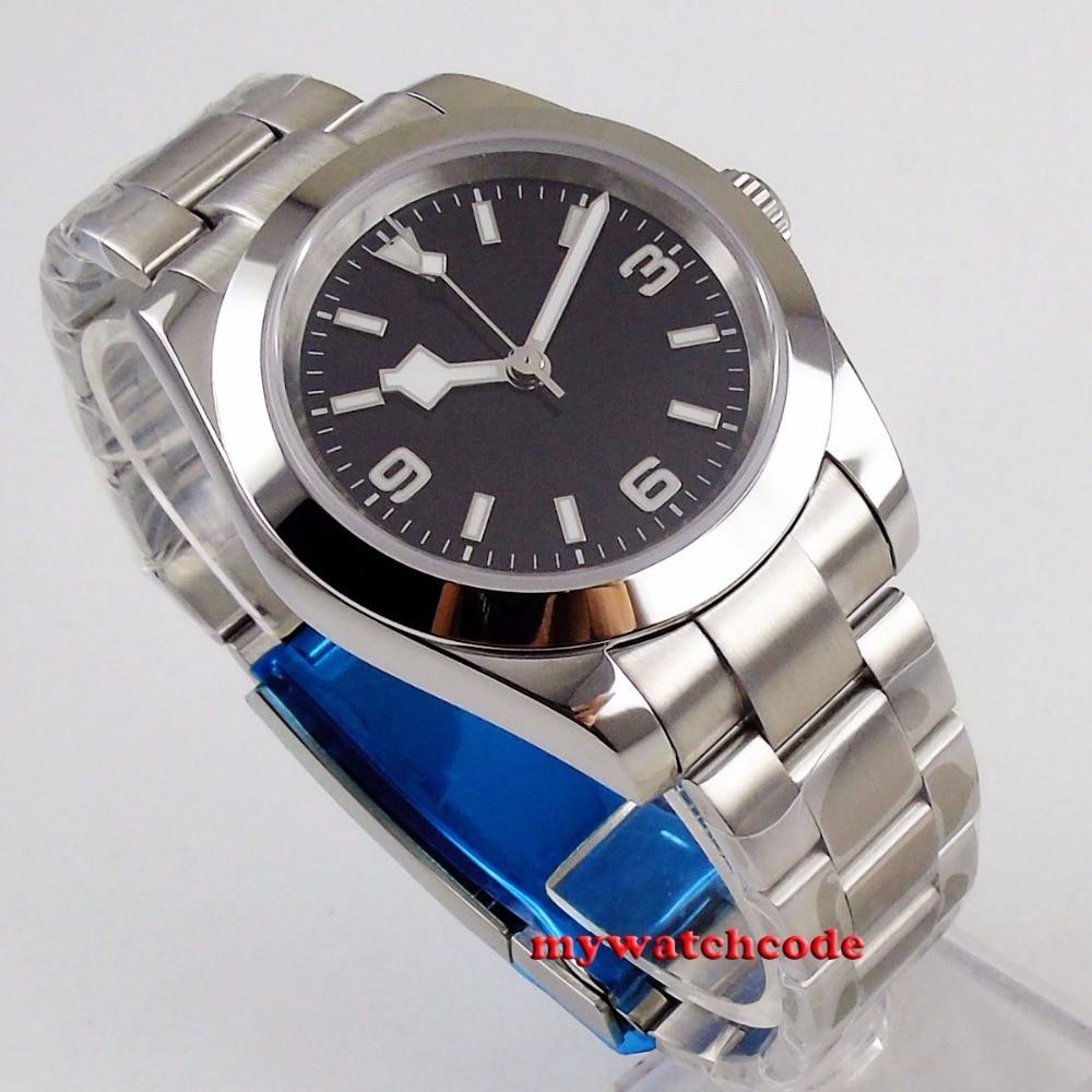 40mm bliger estéril mostrador preto floco de neve mão aço caso sólido vidro safira automático relógio masculino b201 - 2