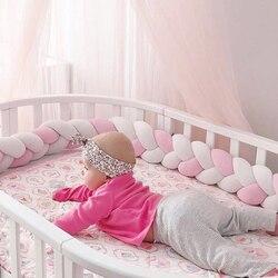 3 m Colori Misti Intrecciato Presepe Paraurti Cuscino Nodo, nodo Cuscino Bolster Cuscino Presepe Paraurti Bambini Cuscino Nursery Decor Bambino Letto