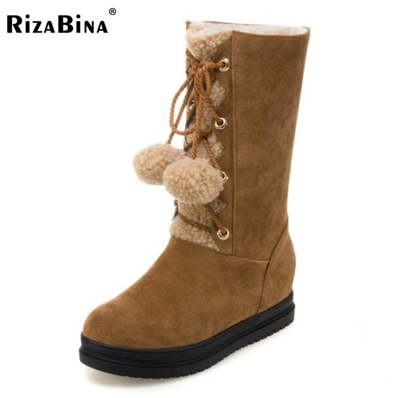 RizaBina Size 34-43 Women Med Calf Snow Boots Cross Lace Up Fashion Plush Fur Warm In Winter Platform Botas Female Footwear double buckle cross straps mid calf boots
