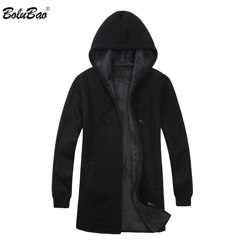 BOLUBAO Brand Men Cardigan Sweaters Coats Casual Slim Fit Plus Velvet Men's Sweaters Winter New Male Hooded Knitting Sweaters