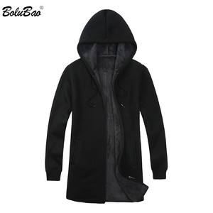Image 1 - BOLUBAO Brand Men Cardigan Sweaters Coats Casual Slim Fit Plus Velvet Mens Sweaters Winter New Male Hooded Knitting Sweaters