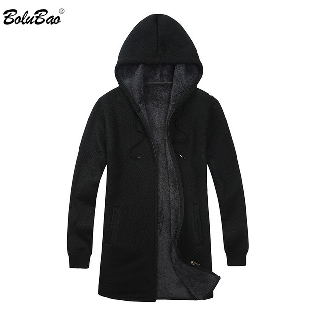 BOLUBAO Brand Men Cardigan Sweaters Coats Casual Slim Fit Plus Velvet Mens Sweaters Winter New Male Hooded Knitting Sweaters