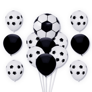Image 4 - 13pcs/lot 18 inch Round Football Foil Balloons Baby Birthday gym Party Soccer Helium Globos 10inch White Black Latex Decoration