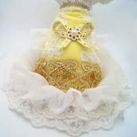 Bling Lace Dog Puppy Luxury Pearl Bow Dress Tutu Skirt Summer Pet Dog Cat Chihuahua Princess
