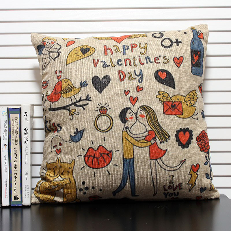 Graffiti Style Cushion Cover Love Throw Pillow Sofa Abstract