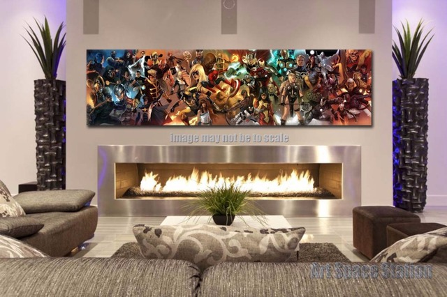 AVENGERS Superhero Marvel Comics Movie Poster Print - 60x16inch GIANT Canvas Wall Art Pictures for living & AVENGERS Superhero Marvel Comics Movie Poster Print 60x16inch GIANT ...
