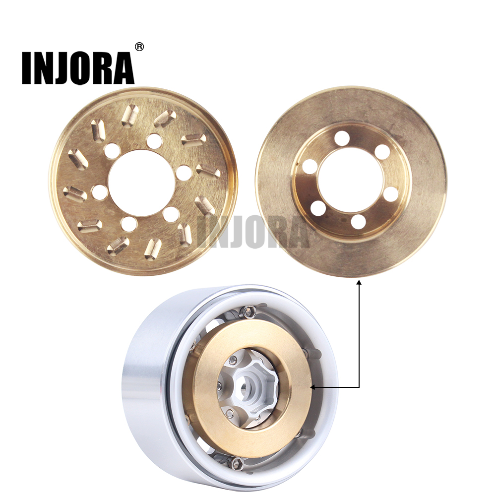 INJORA 2PCS Brass 63g Internal Counterweight For 1.9 2.2 Inch Wheel Rims Axial SCX10 90046 D90 TF2 Traxxas TRX4