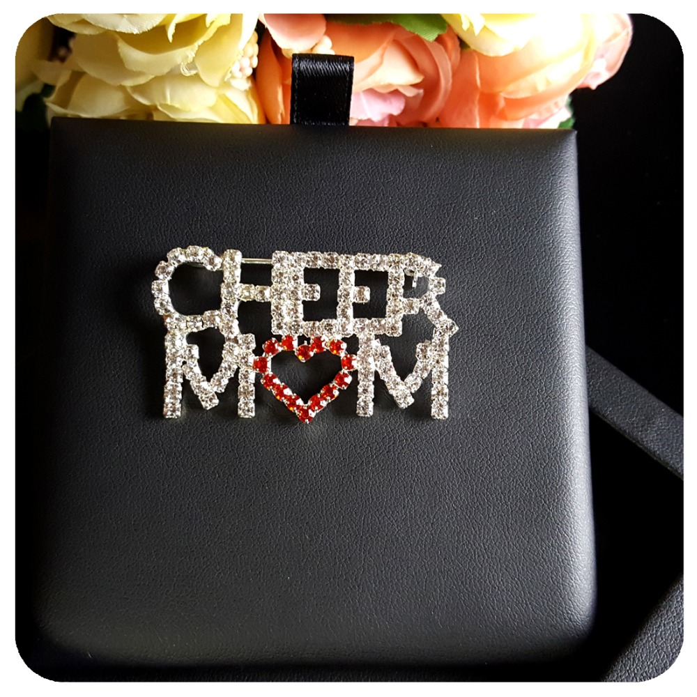 Hot Trendy Brooch Jewelry Crystal quot CHEER MOM quot Word Pin with a Red Heart in Brooches from Jewelry amp Accessories