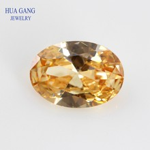 Size 2x3~18x25mm Oval Shape Cut 5A Champagne CZ Stone Synthetic Gems Cubic Zirconia For Jewelry Wholesale Free Shipping