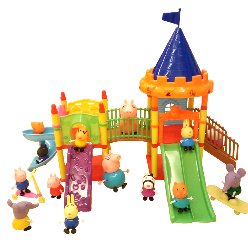 Aiboully Pig Toys Series Of Amusement Park Toys PVC Action Figures Family Membe Peppa George Pig