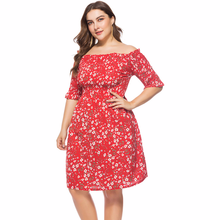 Hot Big Size Vestidos 2018 Women Dress Plus Sizes Summer Dress Sexy Slash Neck Red Blue Floral Print Party Office Casual Dresses plus size brief slash pockets blue dress