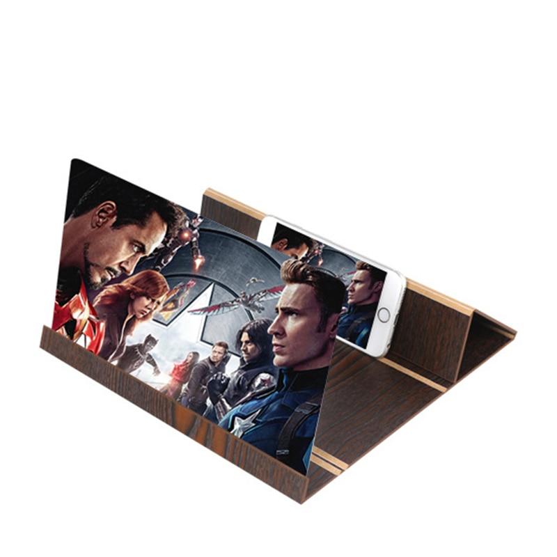12 zoll Desktop Holz Bildschirm Verstärker Stereoskopischen Amplifying Halterung Handy Video Bildschirm Lupe Halter Halterung