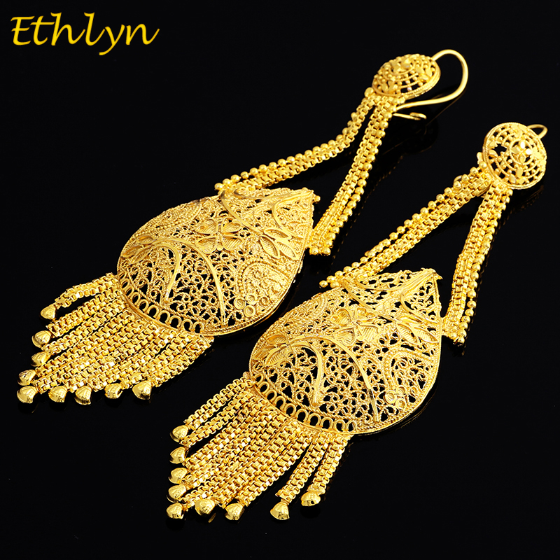 Ethlyn Dubai Gold Color Plus Big Size Wedding Tassel Earring for EthiopianArabInidanNigerian Women Party Jewelry E051
