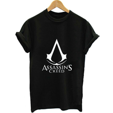 Assassins Creed Letter Print Women White T-shirt Girl 100%  Cotton Printed Female Clothes Tee Summer Weed Harajuku Anime Tshirt