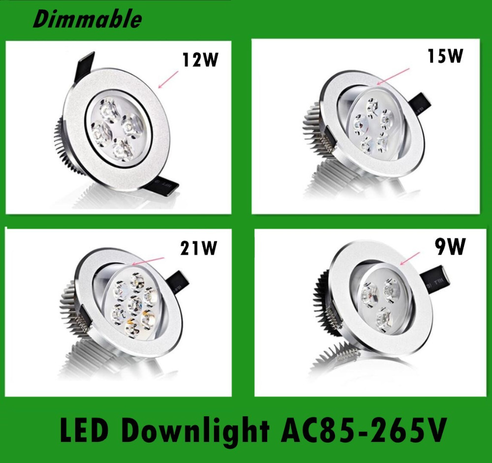 100pcs Bright Recessed LED Dimmable Downlight COB 9W 12W 15W 21W LED Spot light decoration Ceiling Lamp AC 110V 220V