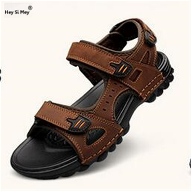 Men Shoes Sandals Genuine-Leather Flats Male Outdoor Breathable Casual Summer Soft 48