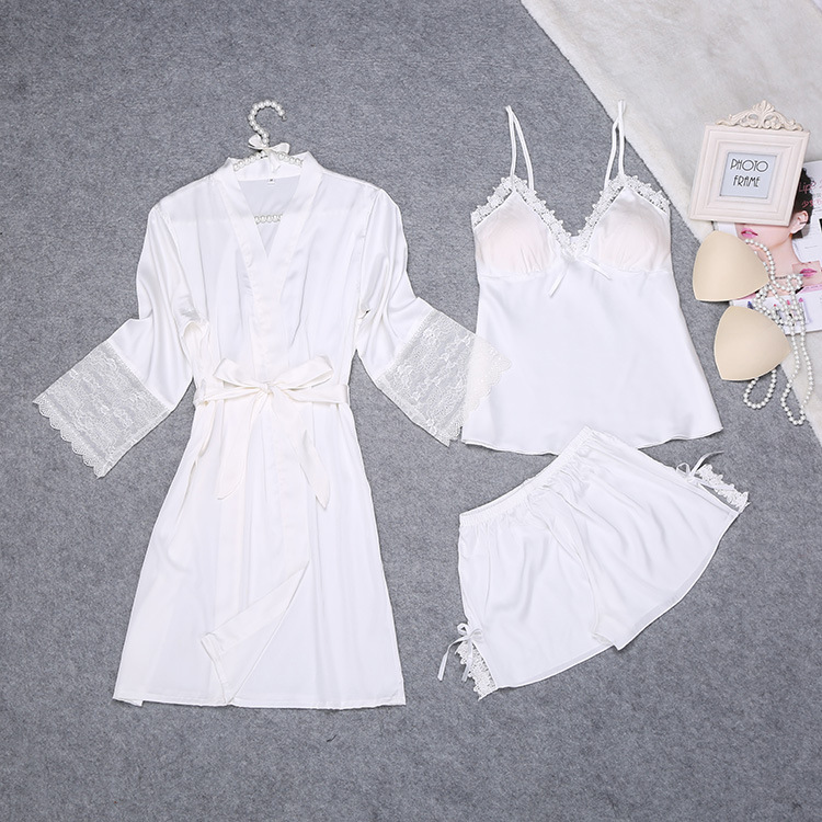2018 Summer Robe   Pajamas   Womens 3PC Strap Top Pants Suit Sleepwear   Sets   Casual Home Wear Nightwear Sexy Bath Gown M-XXL