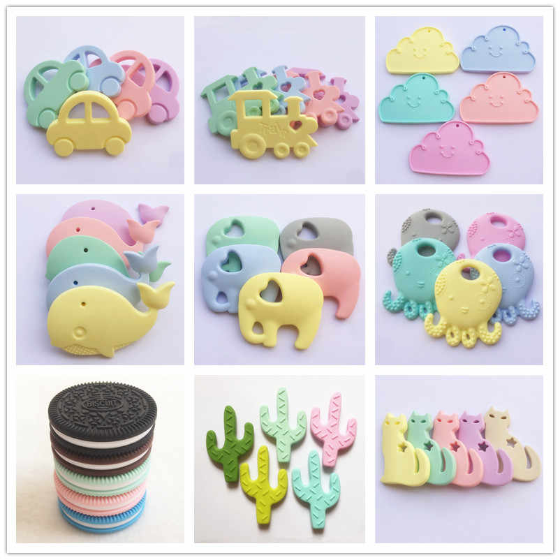 Chenkai 10PCS Silicone Teether Car Elephant Alpaca Koala Butterfly Flamingo Bunny Baby Pacifier Dummy Rabbit Teething Pendant